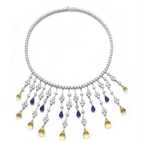 Briolette Sapphire and Citrine PaveDrop Necklace TCSN-NEC1208-S
