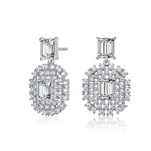 Sterling Silver with Rhodium Plated Emerald Shape Drop Earrings TR- EAR0438