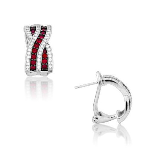 Sterling Silver Criss Crossed Ruby and White Micro Pave Earrings TCE-D-5190