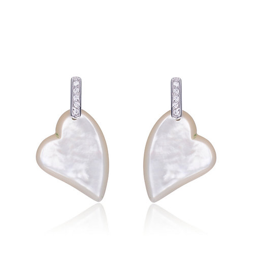 Sterling Silver Rhodium Plated Mother Of Pearl Heart Shape Earrings CL-ear1456