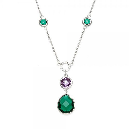 Sterling Silver Emerald and Amethys