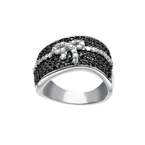 BLACK & WHITE CZ RING W-8939