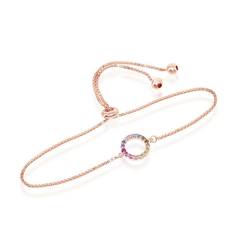 Sterling Silver Rose Gold Plated Rainbow Circle Adjustable Bracelet CL-T-7664-RG