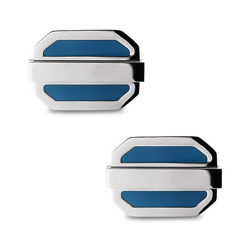 Stainless Steel Blue Enamel Oval Cuff Links CL-SC-2010