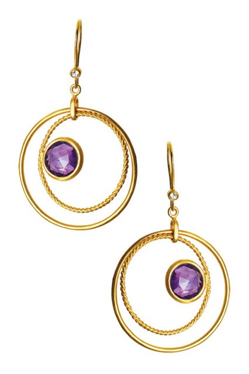Sterling Silver Gold Toned Amethyst Brazilian Circle Drop Earrings CSE-GE5530-A