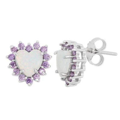 Sterling Silver Opal with Amethyst Stones Heart Stud Earrings CSE-D-5916