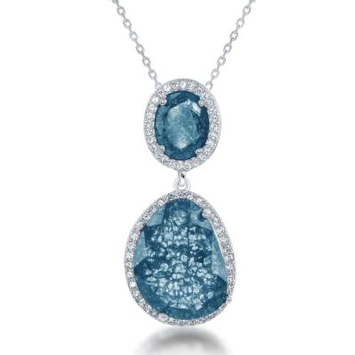 Sterling Silver Double Oval Blue Ice Pendant TCSN-K-7588