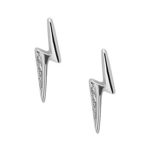 Sterling Silver Lightning Bolt Earrings with Stones CSE-D-5392
