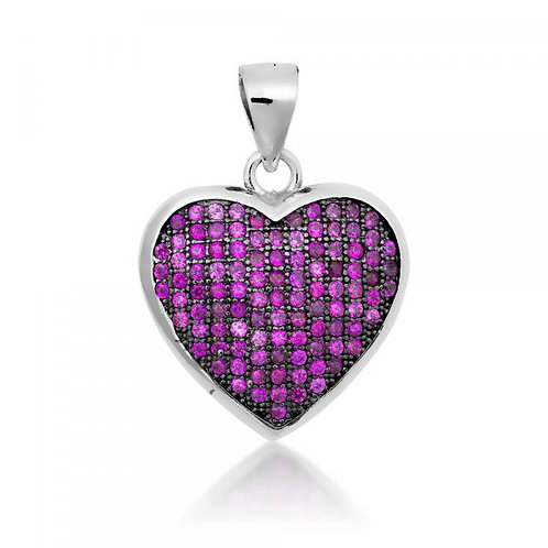Sterling Silver Black Rhodium Ruby Stone Micro Pave Heart Pendant CSN-K-6635