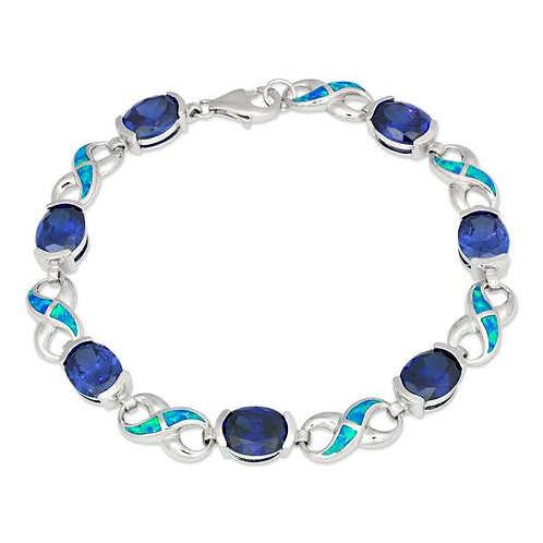 BLUE INLAY OPAL INFINITY BRACELET T-7193