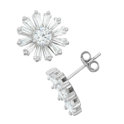 Sterling Silver Baguette Daisy Stud Earrings CL-D-5978