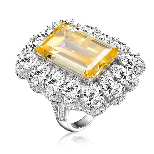 Sterling Silver with Rhodium Plated Canary Emerald Shape Ring TR-R9775-Y