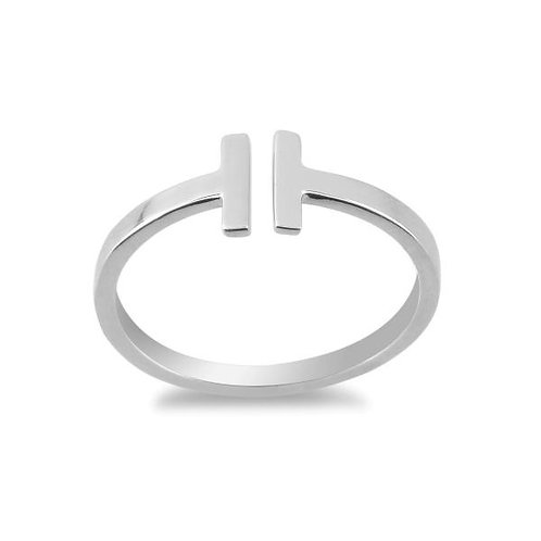 Sterling Silver Double T Ring TCR-W-1261