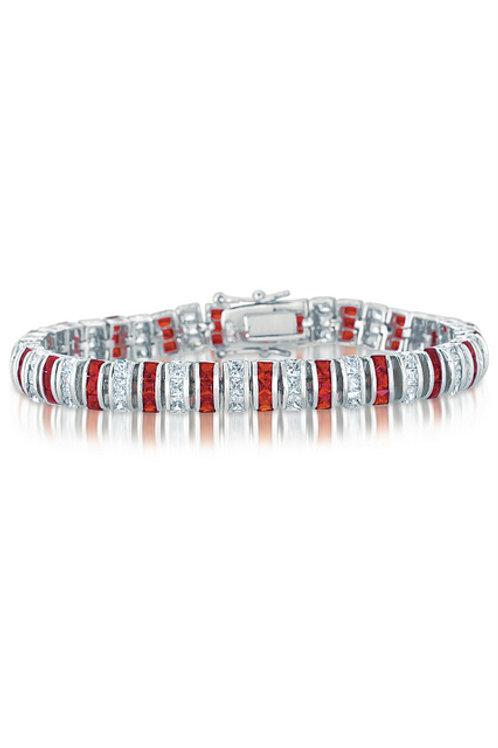 Princess Cut Ruby & White Stone Bracelet CSB-BR2036-R