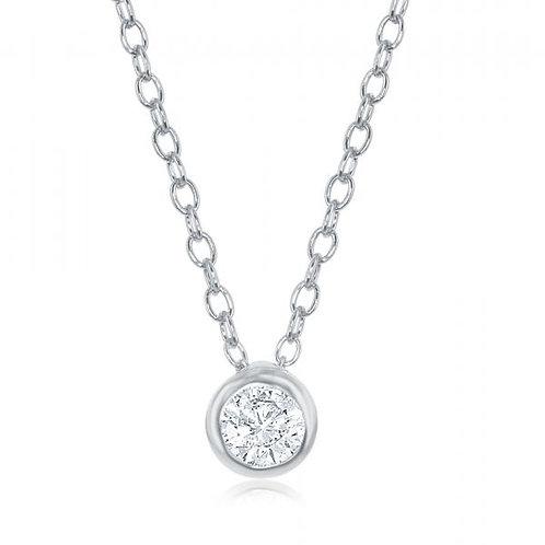 Classic Bezel Set Sterling Silver Platinum Plated Necklace TCN-M-5835