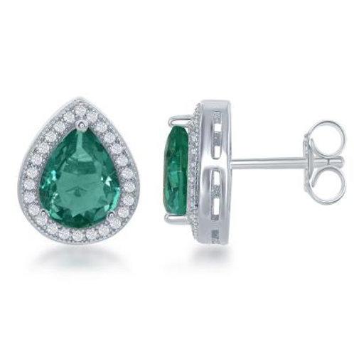 Sterling Silver Simulated Emerald Stud Earrings TCE-D-6311