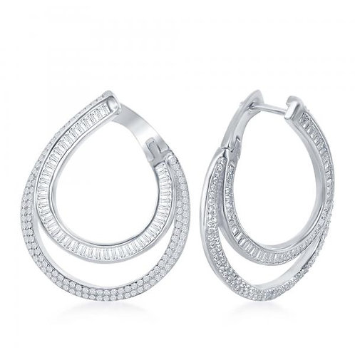 Sterling Silver/Platinum Plated Baguette swirl Earrings CSE-D-6801