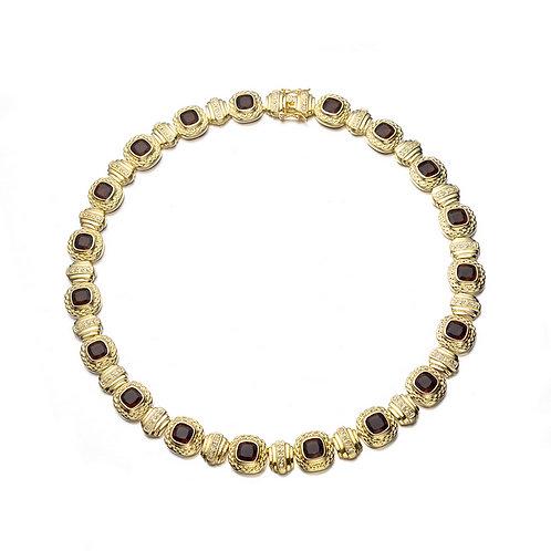 Gold Toned Smokey Topaz Style Necklace CSN-NEC1163-ST
