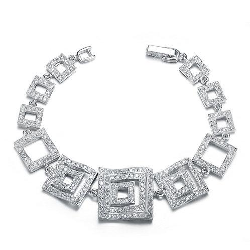Sterling Silver 3D Pave Statement Bracelet TSB-BR1002
