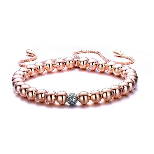 1mm Beaded Rose Plated Adjustable bracelet CSB-BR7100