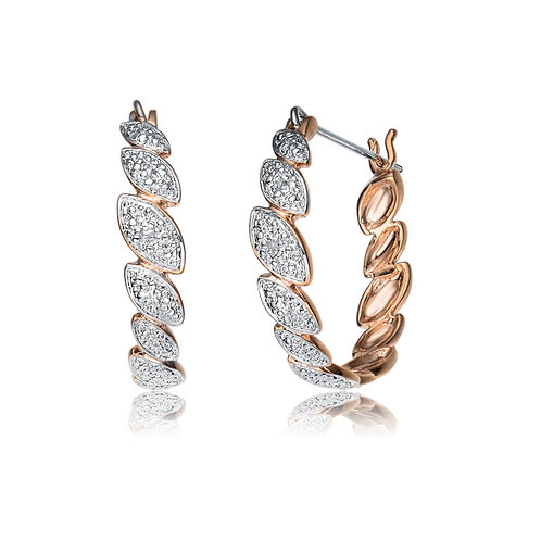 Sterling Silver Two Tone Marquise Shaped Pave Earrings CSE-DEAR9002