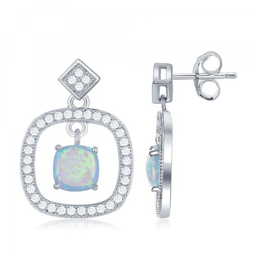 Sterling Silver Square  Drop with Opal  Stone Earrings TCE-D-6538