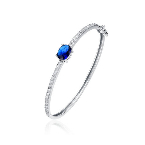 Sterling Silver Oval Sapphire Stone Bangle TCB-BR0014