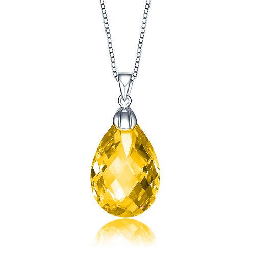 SS/Platinum Plated Lemon Drop Briolette Pendant TCN-PEN1087-Y