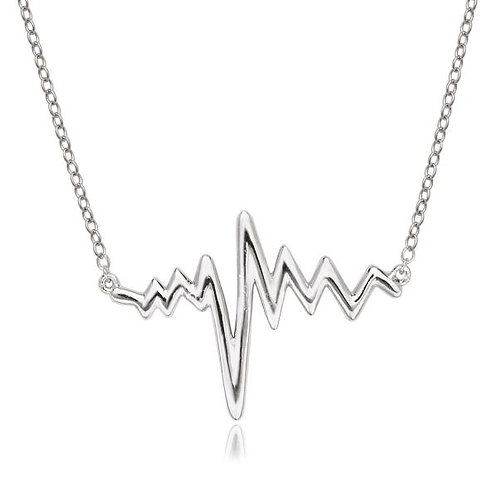 STERLING SILVER HEARTBEAT NECKLACE L-3755