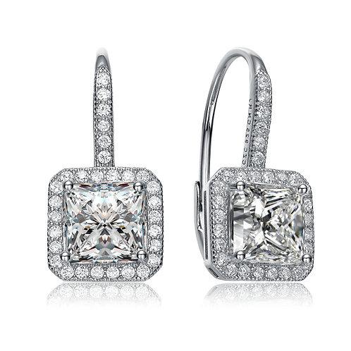 Sterling Silver Semi Drop Princess Cut  Halo Style Earrings TCE-EAR9105