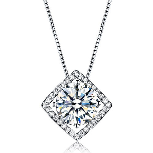 Stunning 2ct. Solitaire in a Square Halo Design TCN-PEN9834