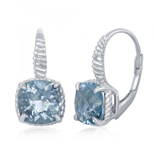Sterling Silver Platinum Plated Cushion Cut Blue Topaz Earrings CE-D-6959