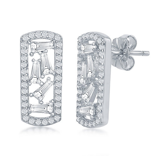 Sterling Silver Rectangle with Center Baguettes CL-D-6556