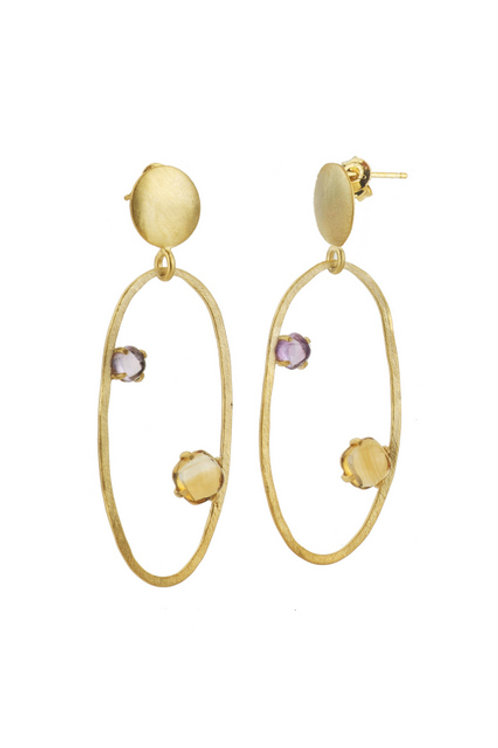 Gold Overlay Accent Open Circle Earrings CSE-GE5350-A