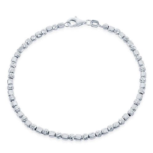 Sterling Silver Square Bead w/ Diamond Cheveron Cut Beads BCL-S-5012