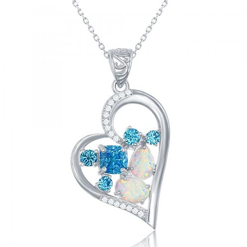 Opal and Blue Simulated Floating Stone Heart Pendant CSN-K-7794