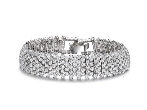 Sterling Silver with Rhodium Plated Clear Round Linear Pave Bracelet TB-BR3251