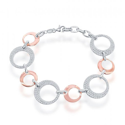 Sterling Silver Rose Toned Open Circle Bracelet CSB-T-7533