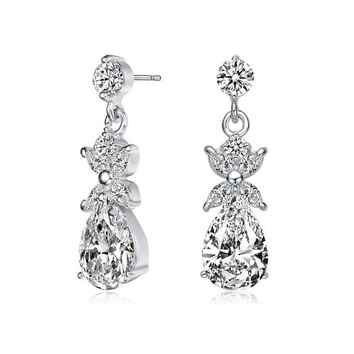 Sterling Silver with Rhodium Plated Pear / Marquise Earrings TE-EAR5421