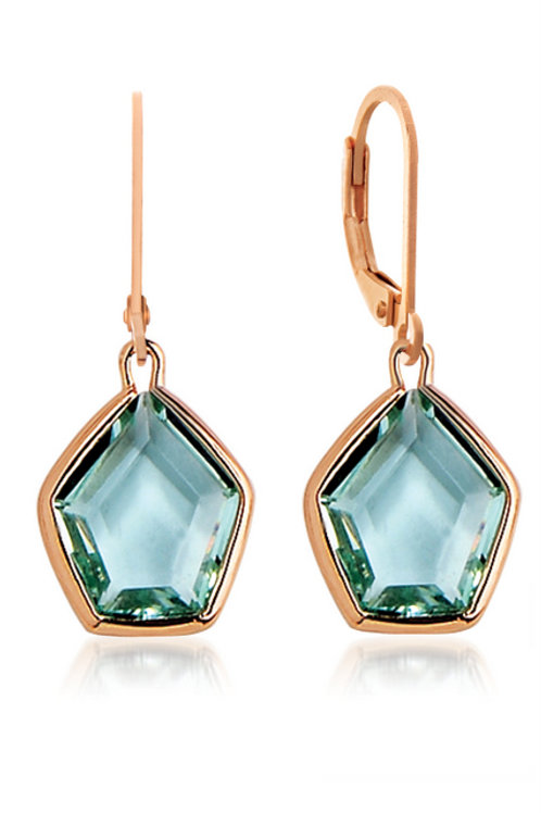 Sterling Silver with Rose Gold Plated green quartz stone CSE-EAR1972-G