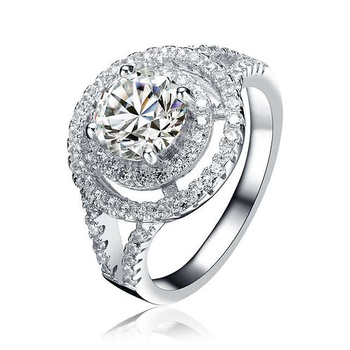 Sterling Silver Rhodium plated Double Halo Ring TR-R9520