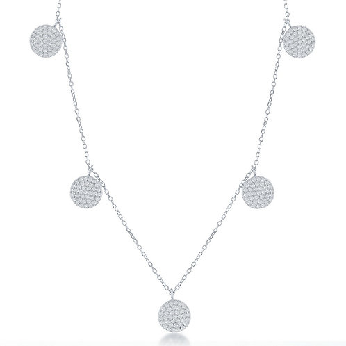 Sterling Silver Multi Pave`Disc Necklace TCS-M-5516