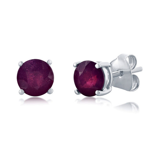 Sterling Silver Four-Prong Round 6mm Ruby Gemstone Earrings CL-D-7164