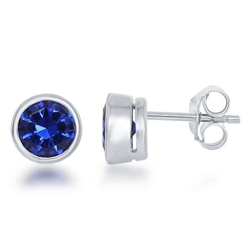 Sterling Silver Created Sapphire Bezel Set Stud Earrings CL-D-5515-SP