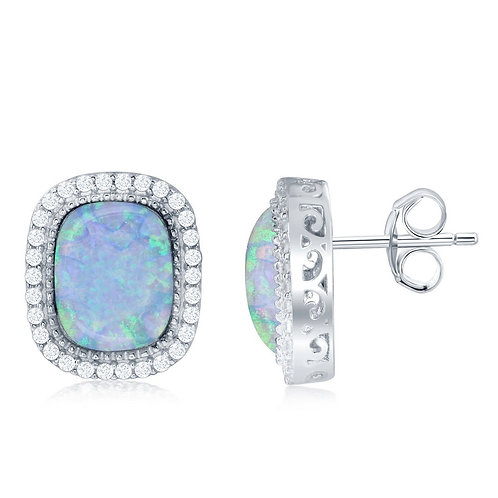 Sterling Silver Square White Opal Earrings CL-D-6557