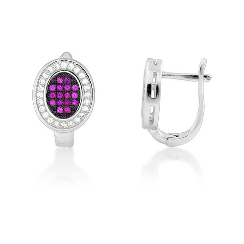Sterling Silver Black Rhodium Pink Micro Pave Oval Earrings CL-D-5157