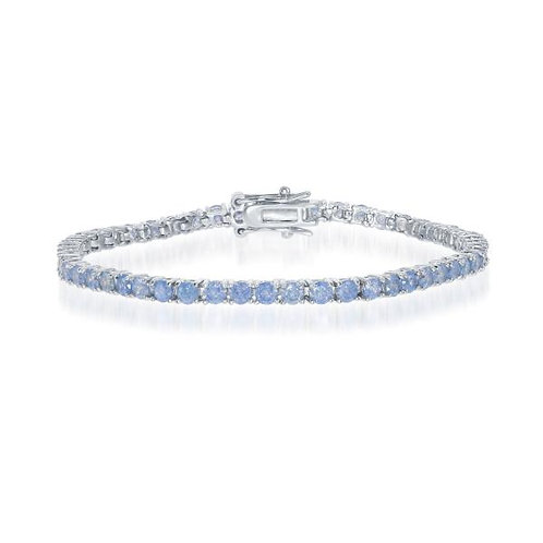 """Sterling Silver 7"""" Round Pronged 3mm Blue Ice Tennis Bracelet CB-T-7358"""