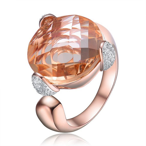 Sterling Silver / Rose Gold Plated Morganite Solitaire Cocktail Ring CSR-R1635