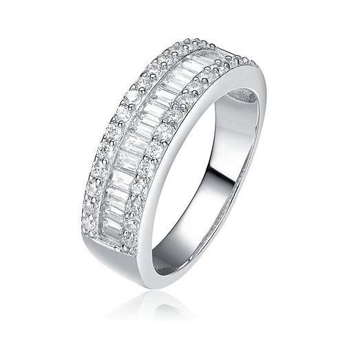 Sterling Silver with Rhodium Plated Baguette with Pave` Sides Ring TCR-R1045