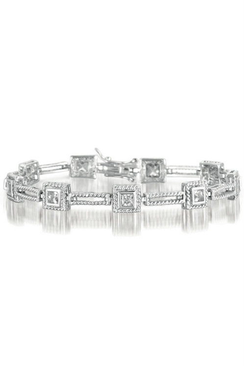 Sterling Silver Rhodium Plated Square Link Cable Bracelet TCB-BR2052
